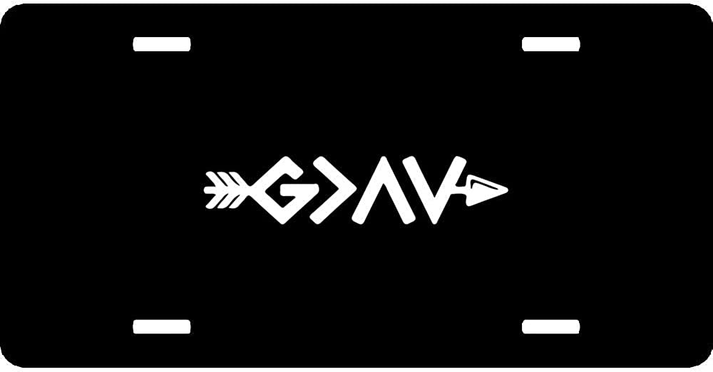 God is Greater Than The Highs and Lows Arrow Customize Humor Funny License Plate Cover Aluminum Car Tag Sign Metal Auto Tag Front License Plate 4 Holes 12 X 6