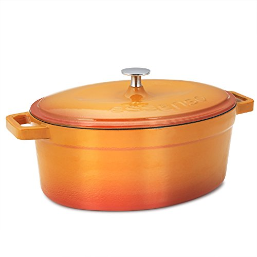 Essenso Chambery Cast Iron Oval Dutch Oven with Four-Layer Enamel Interior and Exterior, Orange, 4.3 Quart