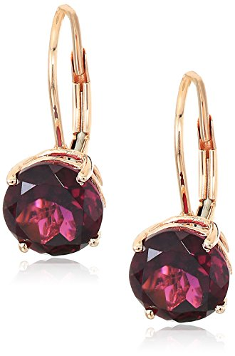 10k Rose Gold Rhodolite Round Lever Dangle Earrings