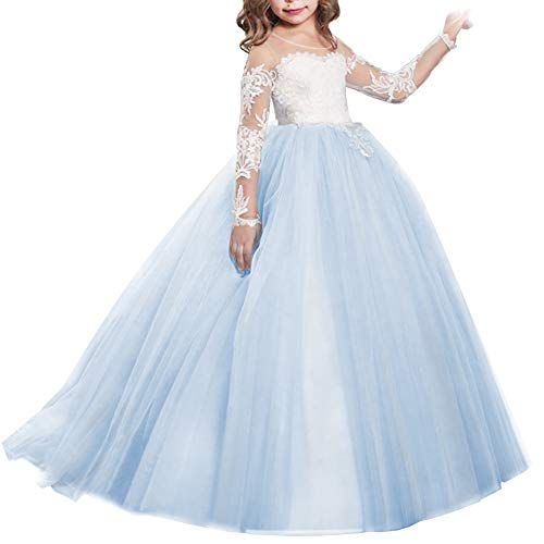 Girls Flower Lace Princess Christmas First Communion Tulle Dress for Kids Long Pageant Gown Floor Length Prom Dance Evening #I Long Sleeve Tiffany Blue 8-9Y