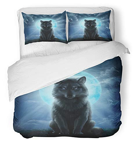 Emvency 3 Piece Duvet Cover Set Breathable Brushed Microfiber Fabric Werewolf Wolf Moon Night Forest Man White Fantasy Animal Bedding Set with 2 Pillow Covers Full/Queen Size for $<!--$99.90-->