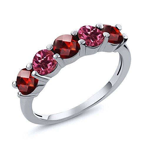 Gem Stone King 1.05 Ct Round Checkerboard Red Garnet Pink Tourmaline 925 Sterling Silver Wedding Band Ring (Size 7)