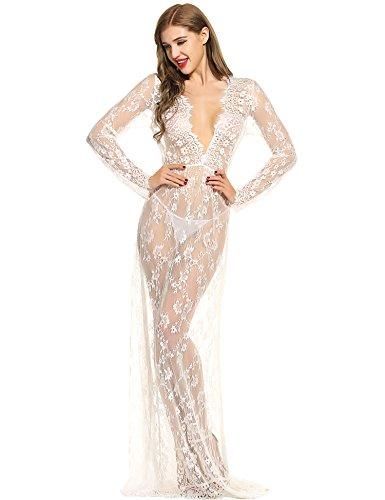 Romanstii Long Sleeve Deep V-Neck Lace See-through Maternity Maxi Dress Plus Sizes Long Beach Dress