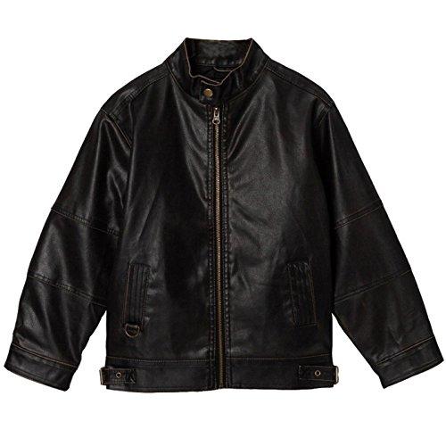 [Momo Grow Big Boys Black Faux Leather Motorcycle Jacket - XL] (Snow Motorcycle Jackets)