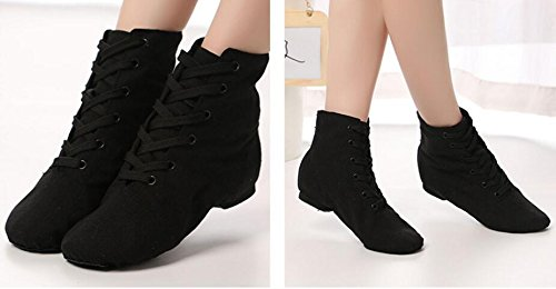 Jazz Boots Canvas Lace up missfiona Over Ankle 6 Modern Womens Shoes The Black Dance Ballroom t8qw0