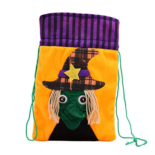 Clearance Halloween Trick or Treat Bags for Kids, Iuhan Reusable Candy Goodie Totes Baggies Party Favor Drawstring Bags Witches Happy Pumpkin Face Halloween Storage Bag Present Gift (D) -