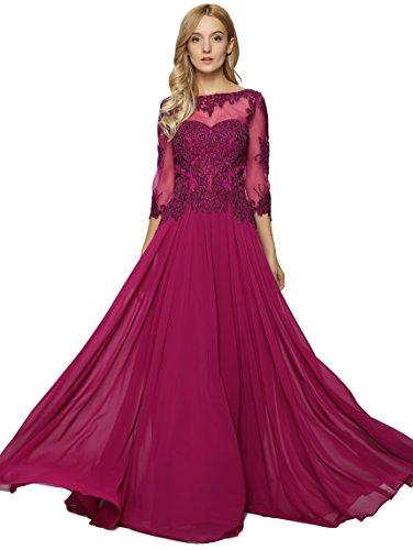 Meier Women's Lace Appliqued Mother of The Bride Evening Dress Raspberry Size 6