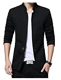 GRMO-Men Mandarin One Button Solid Color Collar Classic Blazer Jackets