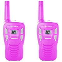Cobra MicroTalk CX131A FRS/GMRS Walkie Talkies (Pack Of 2) With Built-In NOAA Weather - Hot Pink