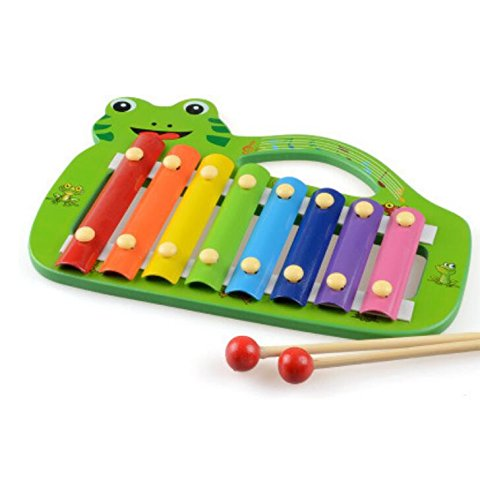 Polymer Musical Toys Frog Shape Wooden Xylophone Piano Wooden Hand Knock Xylophone for Baby Learning Music(Green) by Polymer
