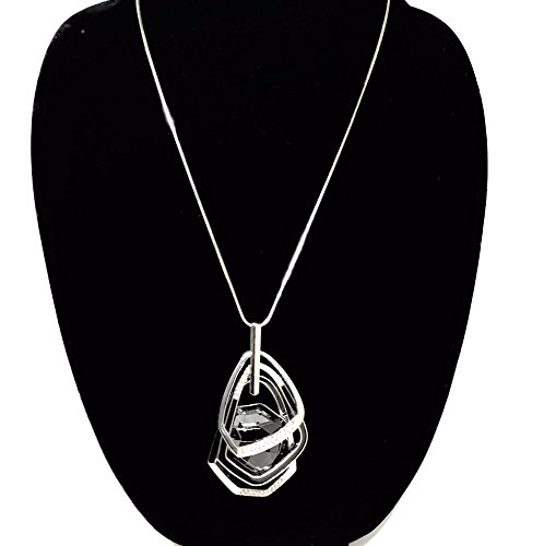 Nataliya Triple Layer Pendant Necklace (Silver Triple Stack (Long Statement Necklace)