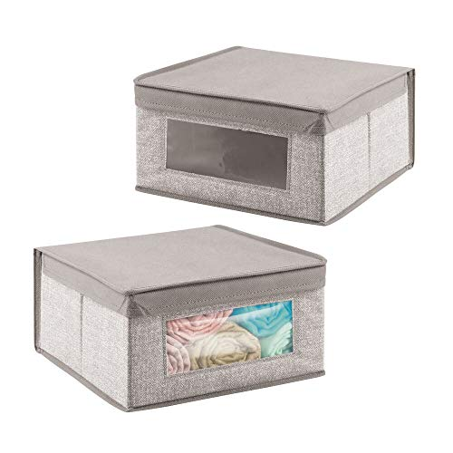 mDesign Soft Stackable Fabric Closet Storage Organizer Holder Bin with Clear Window, Attached Hinged Lid - for Bedroom, Hallway, Entryway, Bathroom - Textured Print - Medium, 2 Pack - Linen/Tan