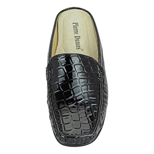 Pierre Dumas Kvinnor Hazel-23 Vegan Croco Lackläder Slip-on Mule Svart Croc