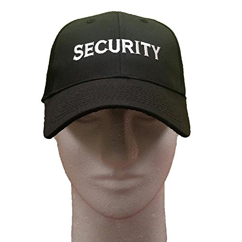 3C Products Black Security Cap w/White Security Embroidered Logo 6 Panels Hat