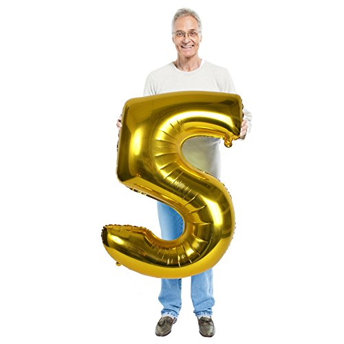 Treasures Gifted 5th Anniversary Decorations Large 40 Inch Gold Mylar Foil 5 Birthday Party Balloons with Numbers for Girls and Boys Helium Supported Giant Ornaments