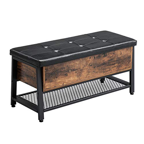 VASAGLE Industrial Storage Bench, Shoe Bench with Padded Seat and Metal Shelf, Multifunctional Seat Chest, Hallway Living Room, Sturdy Metal Frame ULSB47BX (Bench Small Wood Storage)