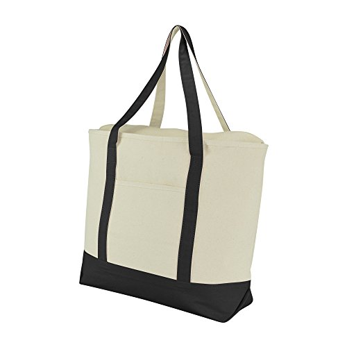 22-extra-large-cotton-canvas-zippered-shopping-tote-grocery-bag-in-black