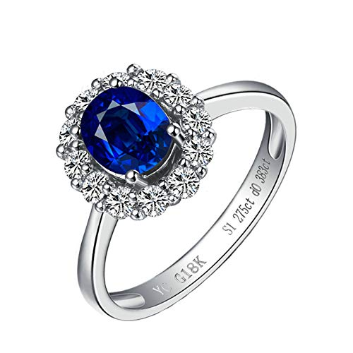 (MoAndy White Gold 18K Female Rings Statement Ring Sapphire 0.85ct & Diamond Blue Size 8.5)