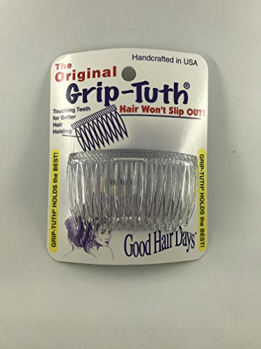"""Good Hair Days Grip Tuth Combs 40414 Set of 2, Clear 2 3/4"""" Wide"""