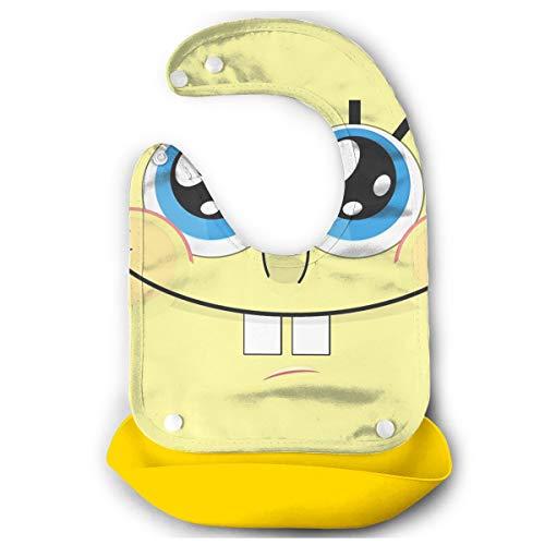 JINUNNU Baby Bib Spongebob Face Waterproof Feeding Bibs for Babies and Toddlers with Food Catcher Pocket Yellow ()