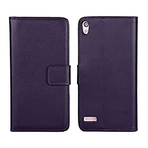 RASK Purple Wallet PU Leather Case Flip Back Cover Built-in Card Slots & Stand for Huawei Ascend P6