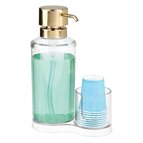 mDesign Mouthwash Pump Dispenser Disposable Cup Caddy Bathroom Vanity Countertop - Clear/Soft Brass