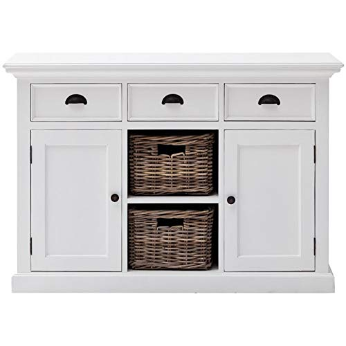 NovaSolo Halifax Pure White Mahogany Wood Sideboard Dining Buffet With Storage, 3 Drawers And 2 Rattan Baskets ()