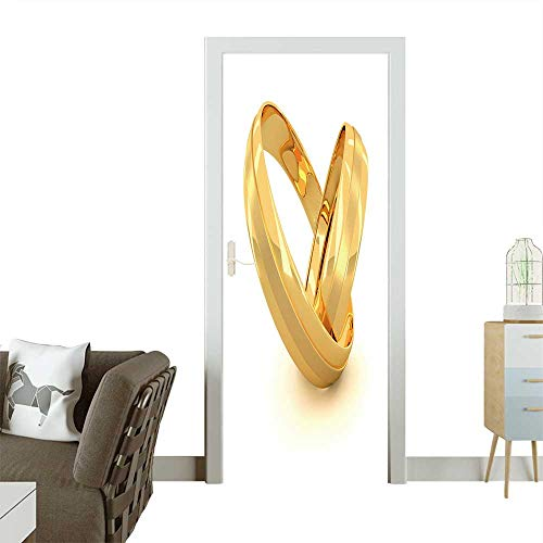 den Wedding Rings Isolated on White Background Removable Door Decal for Home Decor W23 x H70 INCH ()