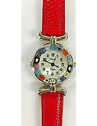 Venezia Millefiori Watch - Red Band & Silver [Watch]