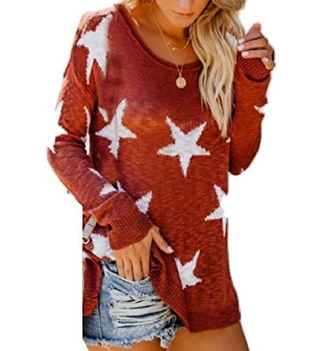 Winwinme Womens Knit Estrella de Cinco Puntas Confort suéter Holgado Top Blusa Red S