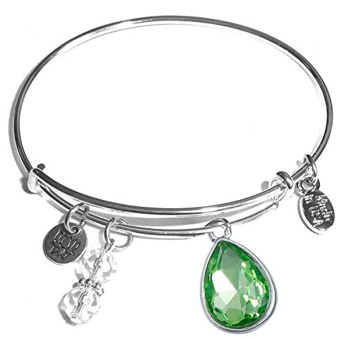 Hidden Hollow Beads Message Charm (84 Options) Expandable Wire Bangle Women's Bracelet, in The Popular Style, Comes in A Gift Box! (Birthstone August) ()