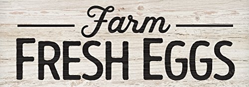 P. Graham Dunn Farm Fresh Eggs White Wash 16 x 6 Inch Solid Pine Wood Plank Wall Plaque Sign