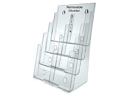 Marketing Holders Multi Pocket Letter Size Brochure Holder Wall or Counter Clear Stand 8 1/2