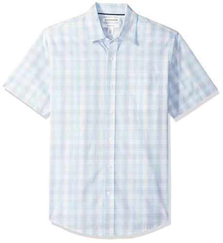 Amazon Essentials Men's Slim-Fit Short-Sleeve Plaid Casual Poplin Shirt, Light Blue/White, -