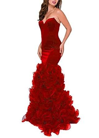 DreHouse Women's Velvet Sweetheart Mermaid Pleats Evening Prom Dresses Long