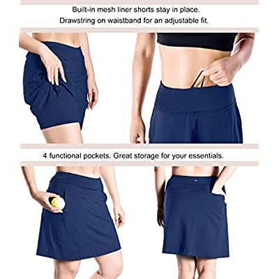 "Yogipace Women's 4 Pockets UV Protection 17"" Long Tennis Running Golf Skort: Clothing"