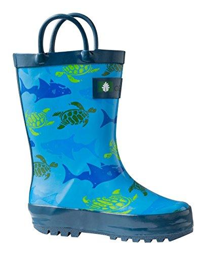Oakiwear Kids Rubber Rain Boots with Easy-On Handles (12 M US Little Kid, Sharks & Turtles)