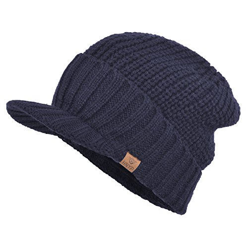 - Janey&Rubbins Men's Stylish Knit Visor Brim Beanie Hats Fleece Lined Skull Ski Caps (Blue)