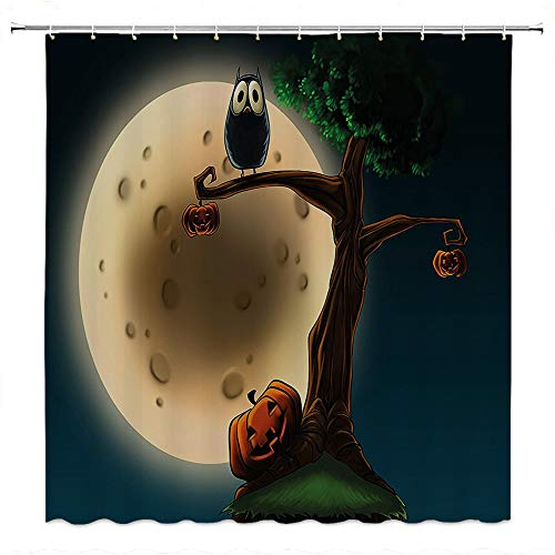 SATVSHOP Fabric-Bathroom-Set-with-Hooks-Be-Awesome-Quote-with-12-Hooks-Cute-Cartoon-of-Spooky-Halloween-Tree-with-Large-Eyed-Owl-and-Pumpkin-.W72-x-L72-inch
