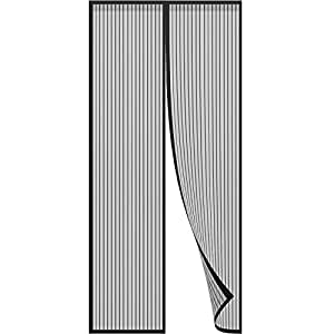 Anpro mosquito puerta mosquitera puerta 140 x 240cm, protección de insectos cortina magnética mosca cortina para sala de estar balcón, negro