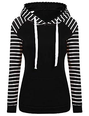 Women's Winter Fleece Pullover Hoodies Raglan Sleeve Striped Sweatshirt Tops With Kangaroo Pocket S-XXL