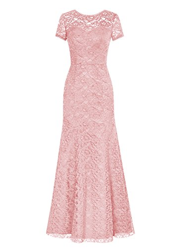 DRESSTELLS Long Lace Bridesmaid Dress Short Sleeved Evening Party Dress Blush Size 16