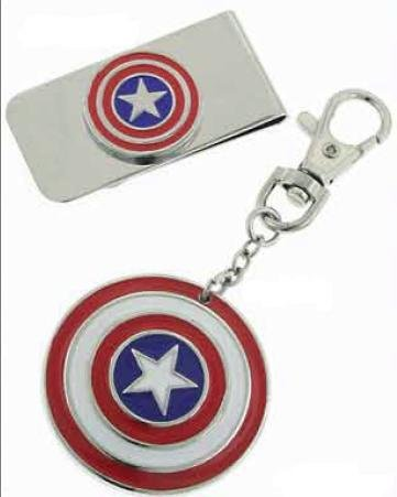 Marvel Comics Silver-Tone Captain America Money Clip & Key Fob Boxed Set - Key Fob Money Clip