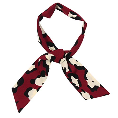 Zalanala Womens Leopard Print Scarf Wrap Shawls Soft Silk Ladies Scarf Ribbon (One Size, Wine) -