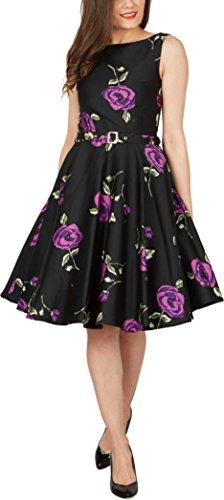 BlackButterfly 'Audrey' Vestido Vintage Años 50 Infinity Grandes Rosas Morados