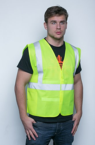 Brite Safety Style 100 Safety Vest, Hi Vis Yellow, Polyester Tricot Fabric, With Reflective Tape, Adjustable, One Size Fits Most, ANSI Class 2 Compliant (Pack of 5)