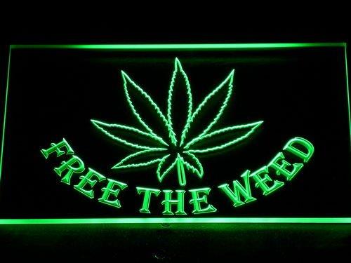 Free The Weed Marijuana High Life Bar Beer Led Neon Sign Green 12 X