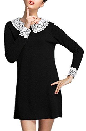 b905b4126272 Women s Lace Peter Pan Collar Long Sleeve Spliced Loose-fitting ...