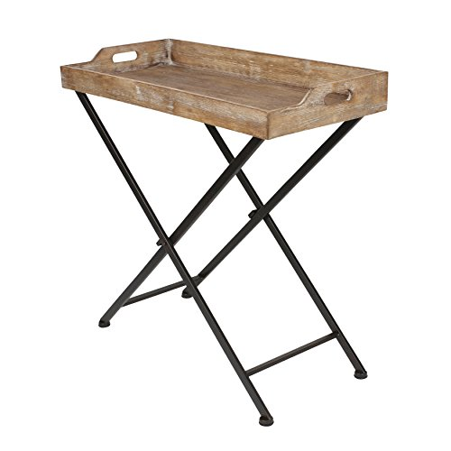 (Kate and Laurel Marmora Metal Tray Table with Removable Wood Tray)
