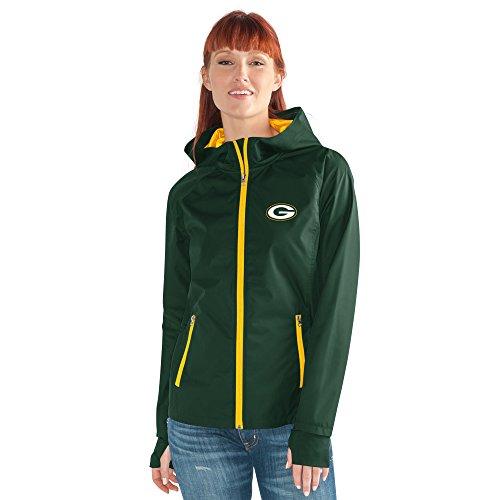 GIII For Her NFL Green Bay Packers Women's Onside Kick Light Weight Full Zip Jacket, Large, Green